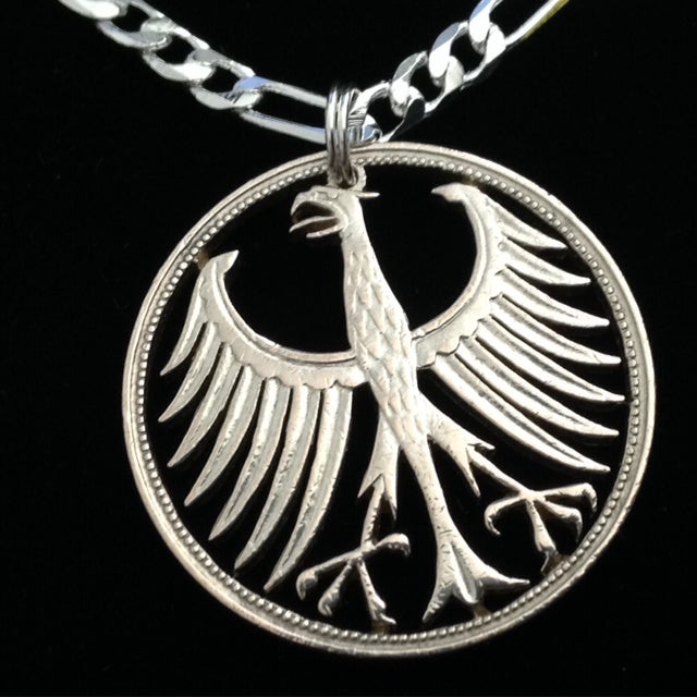 German Silver Five Mark Cut Coin Necklace Cut Coin Jewelry