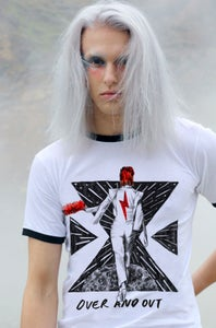 Image of FOREVER BOWIE - OVER AND OUT RETRO TEE WHITE/BLACK