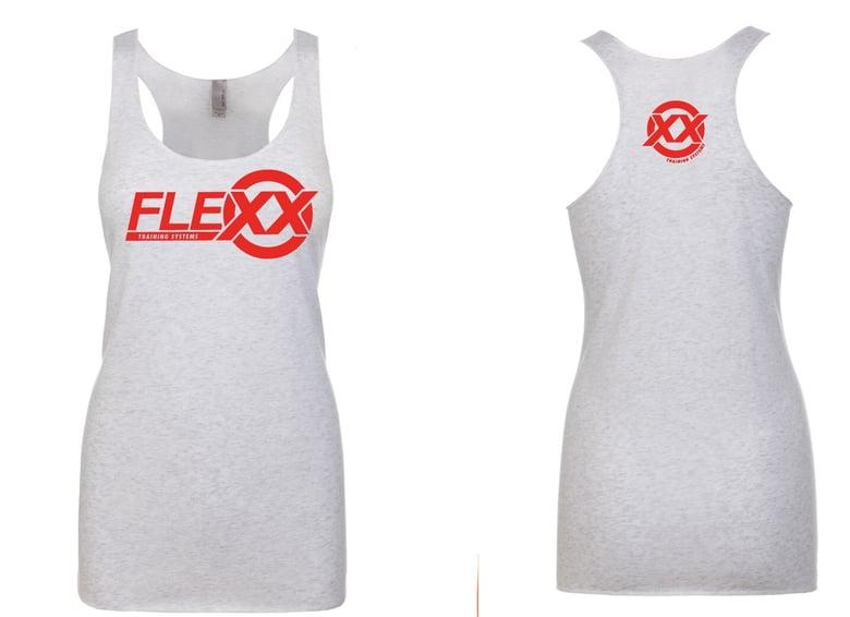 Image of White/Red Women's Flexx Racerback