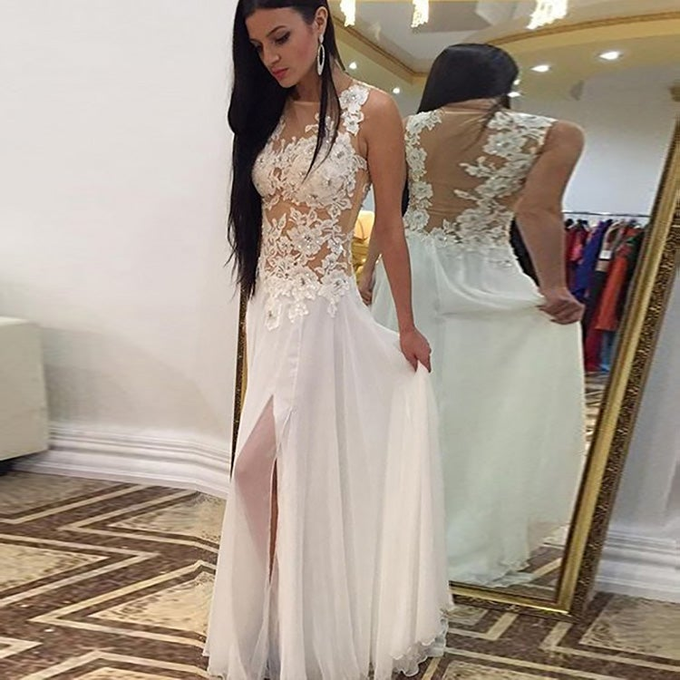 Image of White Lace Prom Gown,Lace long Prom Dress,High Neck Formal Gown With Slit