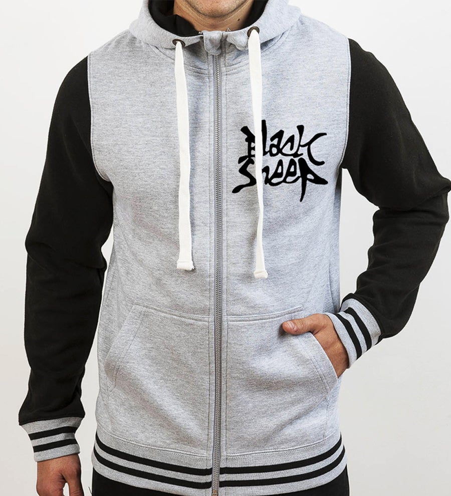 Image of CONTRAST ZIP HOODIE (GREY/BLACK)
