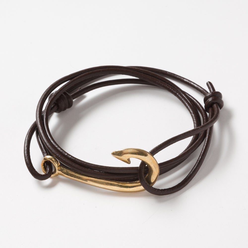 Image of Fishhook Wrap Leather Bracelet