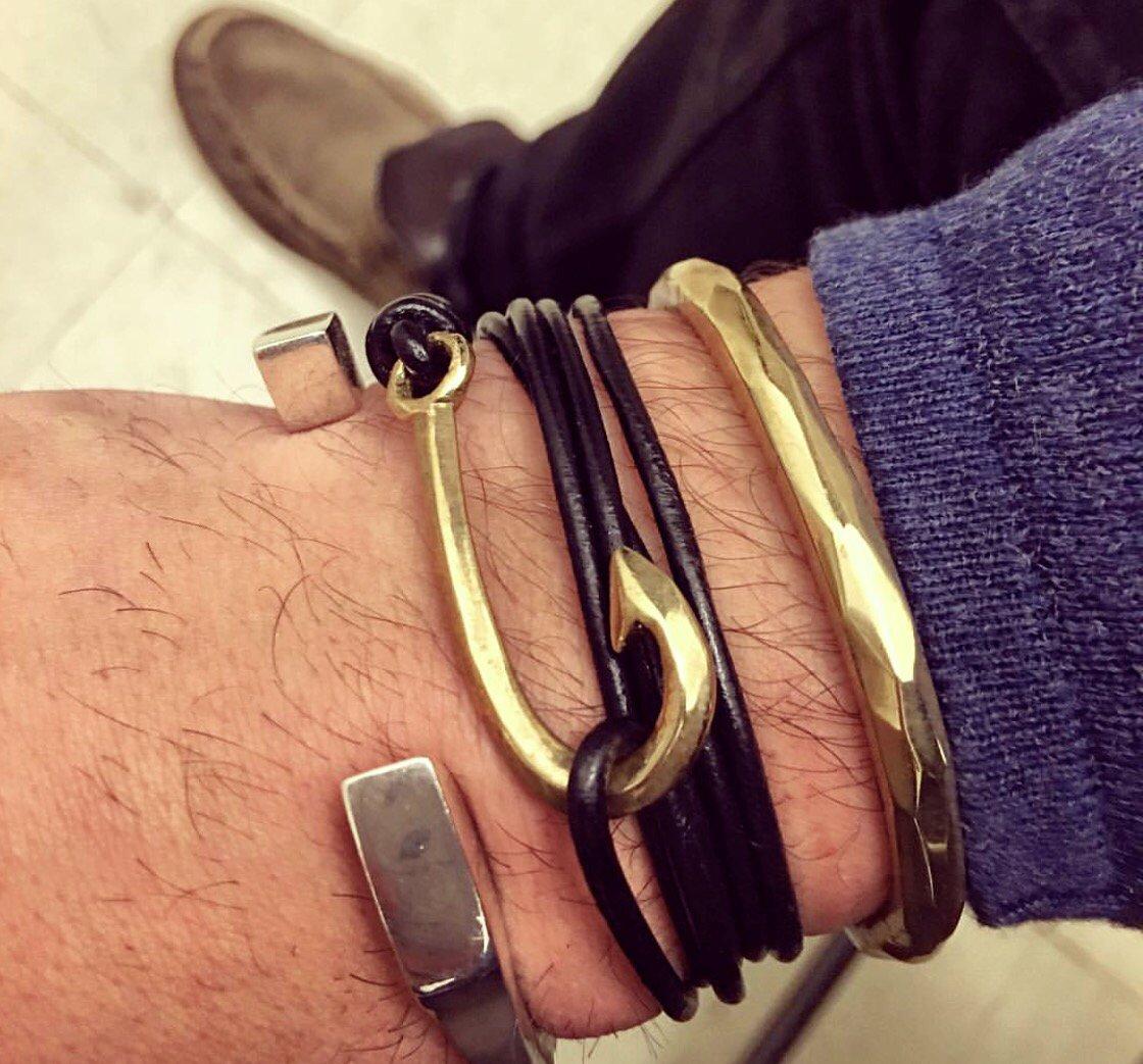 Image of Fishhook Wrap Leather Bracelet