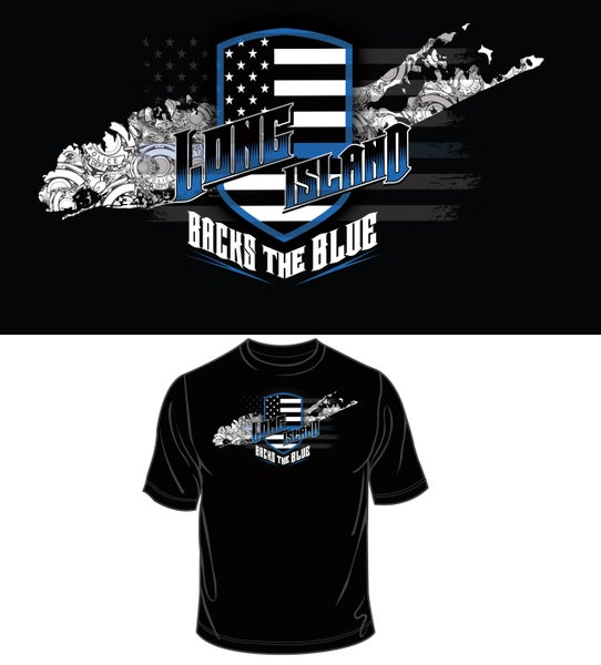 Image of LONG ISLAND BACKS THE BLUE T SHIRT