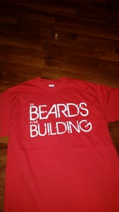 "Image of RED ""BEARDS IN THE BUILDING"" TEE WITH WHITE PRINT"