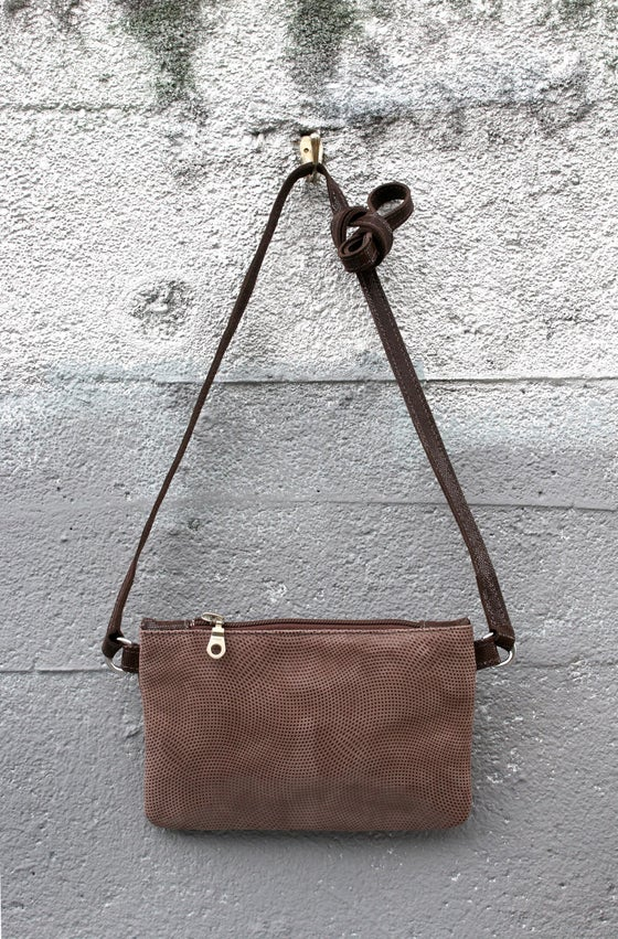 Image of Chelsea Crossbody - brown suede with dot print
