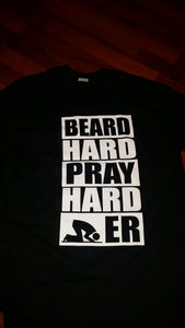 "Image of ""BEARD HARD PRAY HARDER BLACK TEE WHITE PRINT"