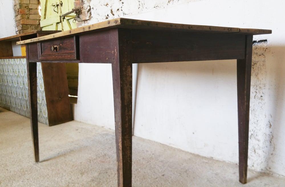 Image of Table de ferme patine naturele