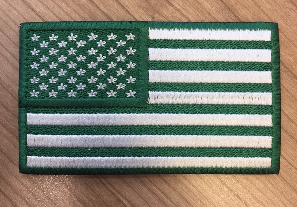 Image of Green and White Flag Patch