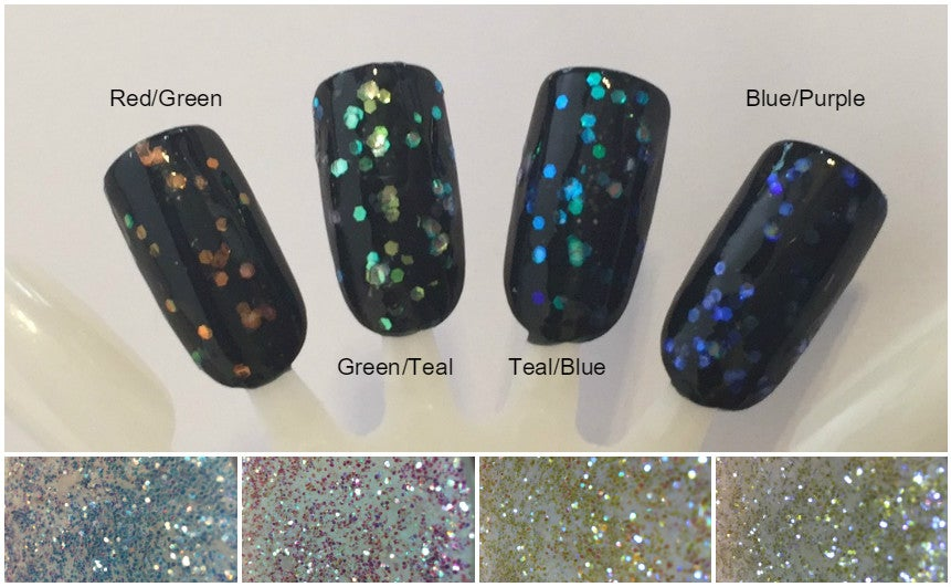 """Image of Iridescent Color-Shift Hex Glitter .040"""""""