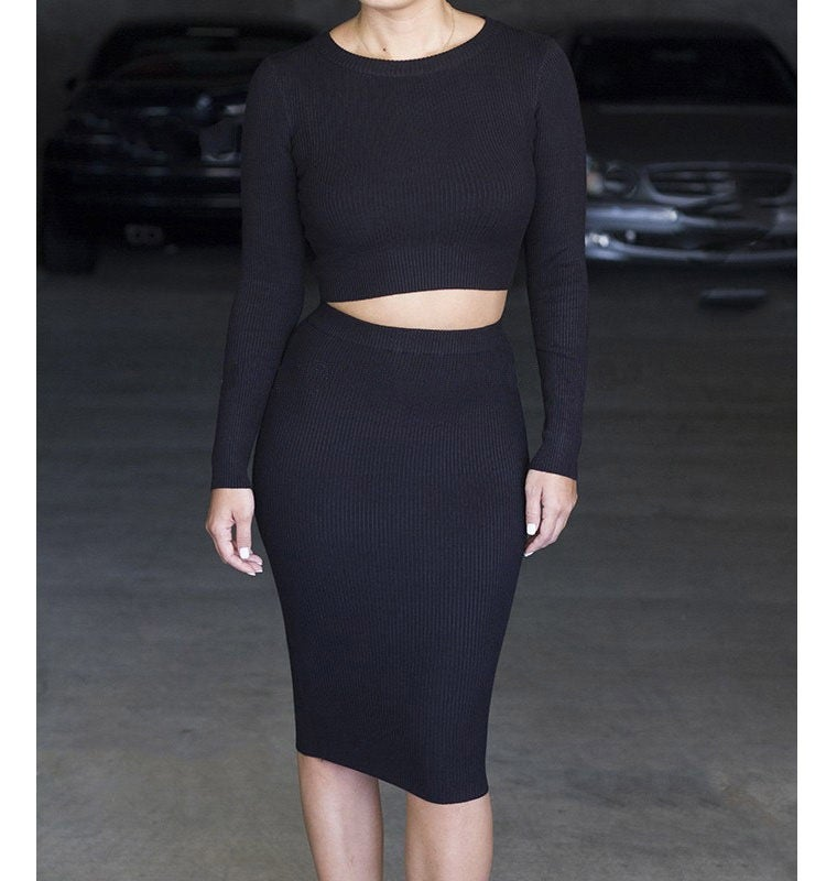 Image of SEXY ROUND NECK LONG-SLEEVED TWO-PIECE DRESS