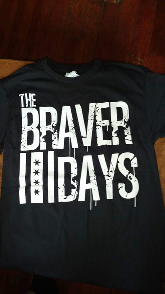 The Braver Days Chicago Flag T Shirt Black Specify Size In The