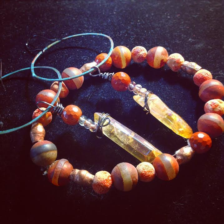 Image of Carnelian and Copper with Tribal Agate and Tangerine Aura Quartz Points