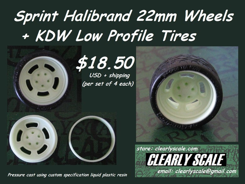 Image of Sprint Halibrand (5 bolt) 22mm Wheels + KDW Low Profile Tires Set