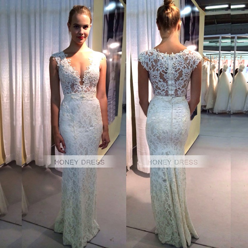 Image of Ivory Lace V-Neck Mermaid Prom Party Dress With Beaded