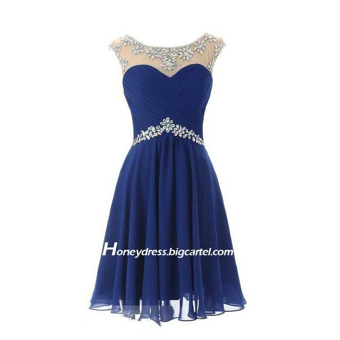 Image of Dark Blue/Purple/Light Blue Chiffon Illusion Sweetheart Short Prom Dress With Crystals