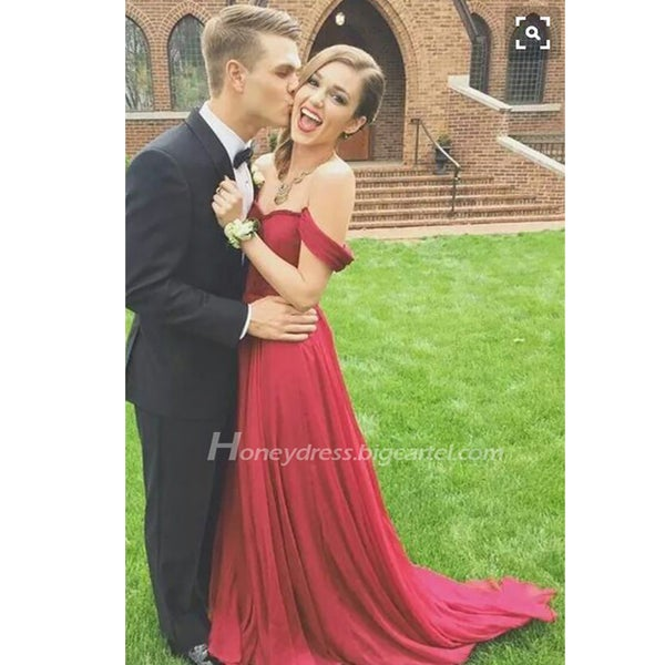 Image of Red Chiffon A-Line Sweetheart Prom Party Dress With Off Shouler