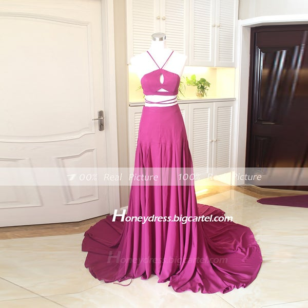 Image of New Arrival Chiffon Purple Halter Cut Out A Line Long Prom Dresses