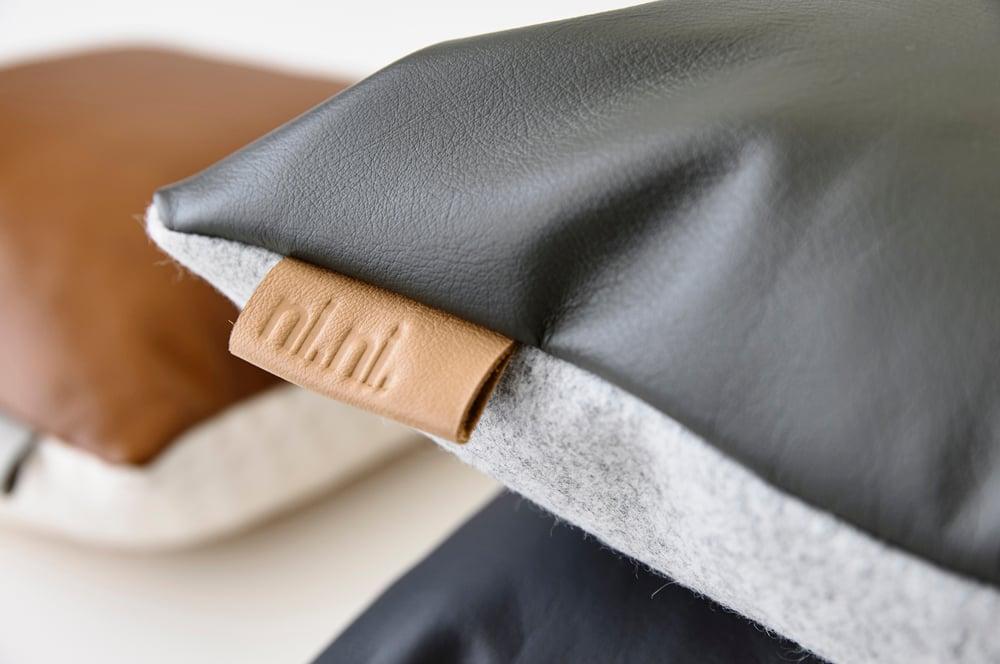 Image of Leather Tab Cushion Cover - Grey Lumbar