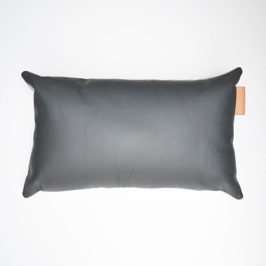 Image of Leather Tab Cushion Cover - Grey Lumbar