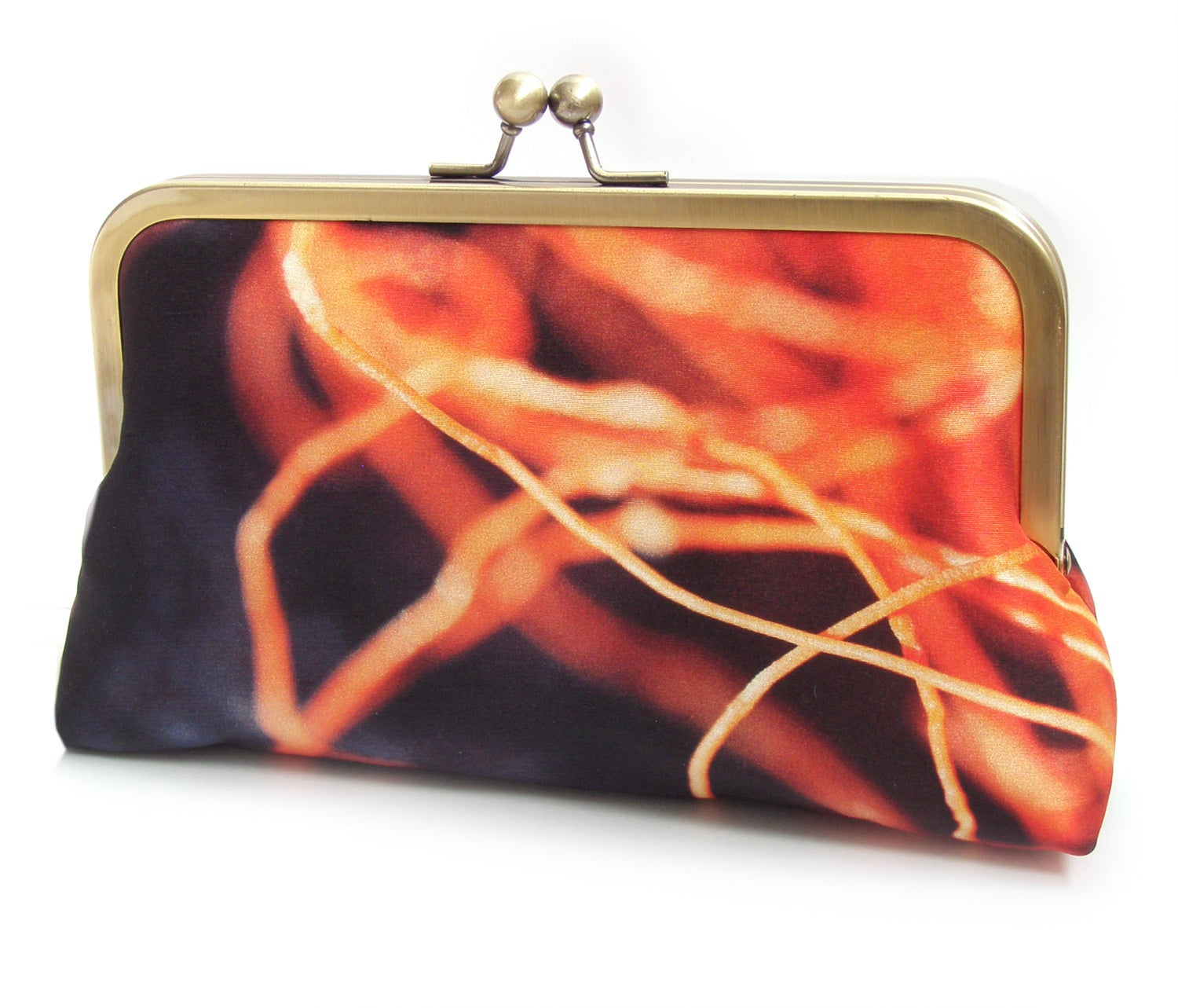 Image of Orange clutch bag, orange and navy purse, twine, printed silk