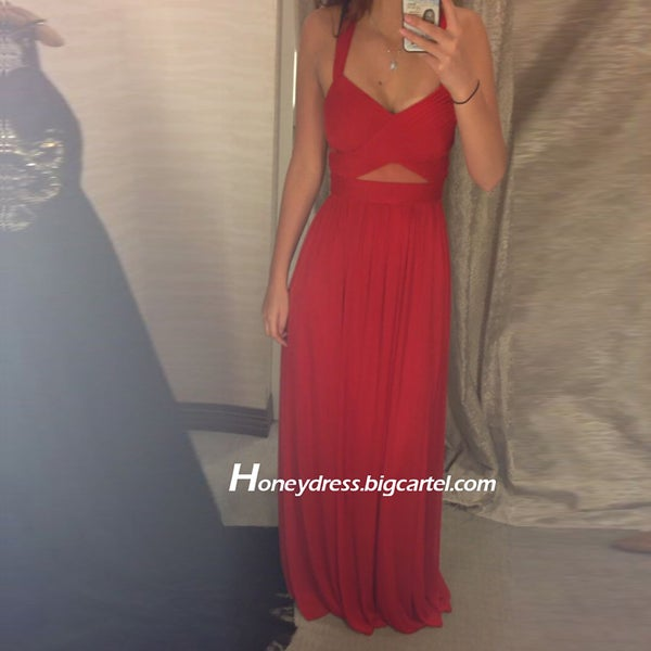 Image of Chiffon Red V Neck Prom Dress Cut Outs Party Dress With Pleated