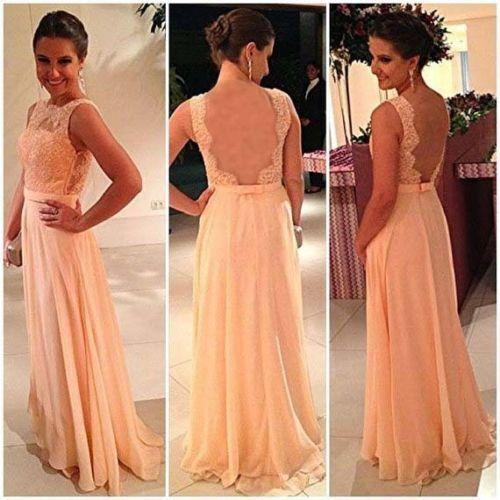 Image of Formal Chiffon Sheer Back Prom Dress With Lace Appliques