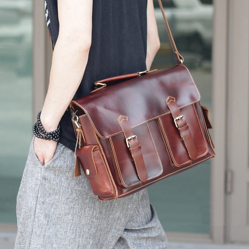 "Image of Handmade Leather Messenger Satchel / Briefcase / 13"" MacBook or 13"" Laptop Bag (n23-5)"
