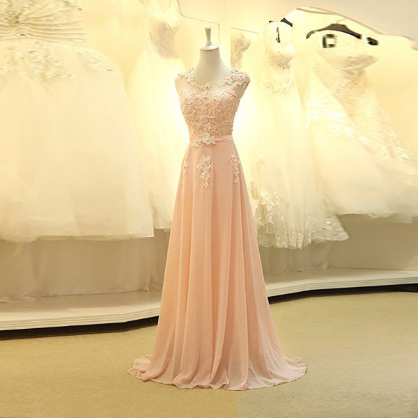 Image of Champagne Pink Chiffon Cap Sleeves Floor Length Prom Dress With Lace Appliques