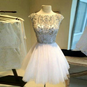 Image of 2015 Illusion Beading Cocktail Dress With V Back