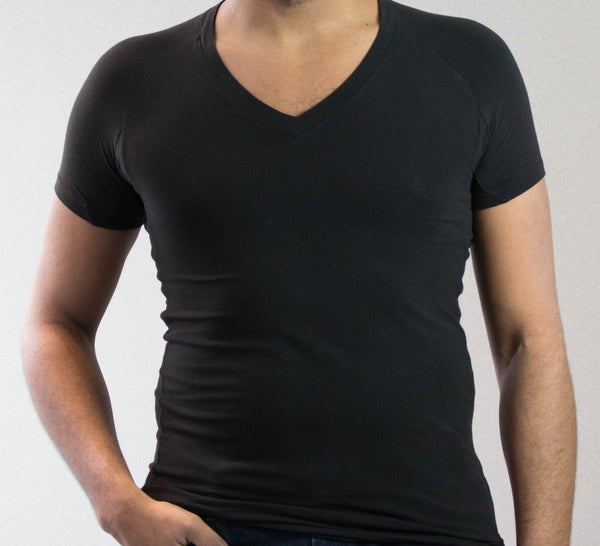 Image of Black Unisex V-Neck Short Sleeve