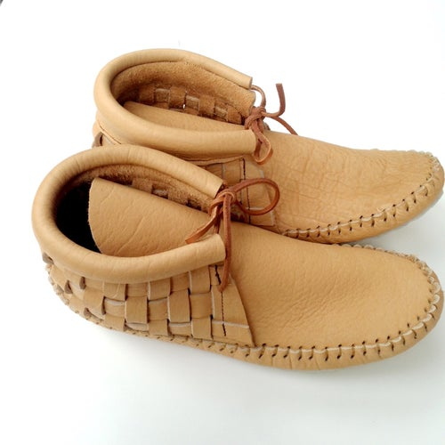 Image of Buffalo Hide Woven Moccasins (Sand)