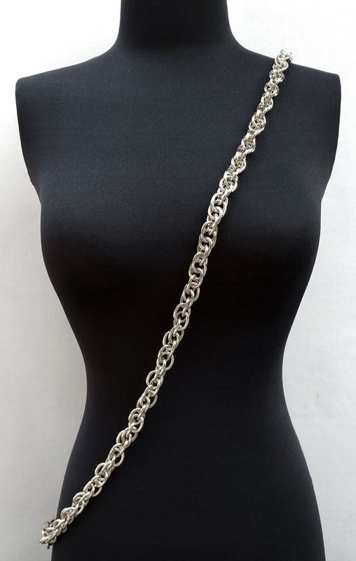 """Image of NICKEL Chain Luxury Strap - Prince of Wales Chain - 1/2"""" (14mm) Wide - Your Choice of Length & Hooks"""