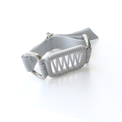 Image of small woven bracelet #1341, color 1S or 10B (limestone/silver or carbon/bronze)