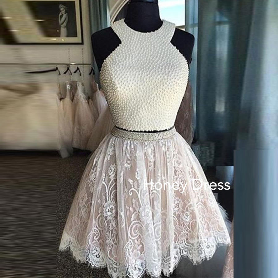 a0750a8ee8c Honey Dress — White Lace Homecoming Dress