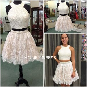 Image of White Lace Homecoming Dress,Two Piece Cocktail Dress,Halter Short Gown With Beading