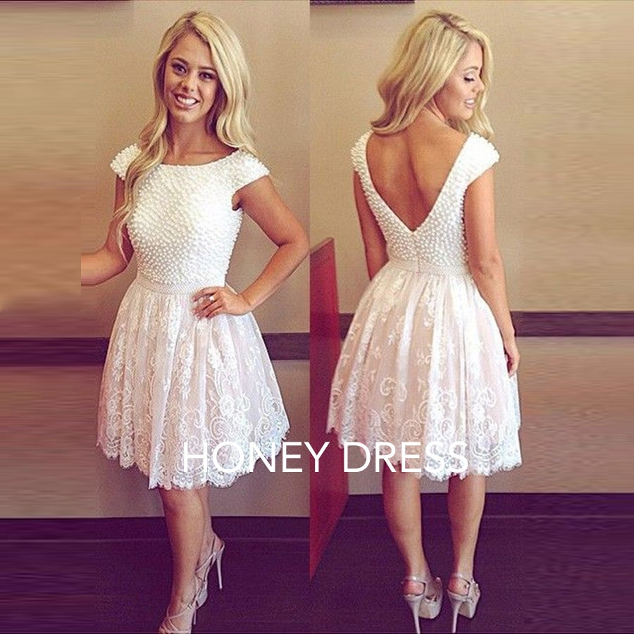Image of White Cap Sleeves Homecoming Dress,V Back Beading Cocktail Dress
