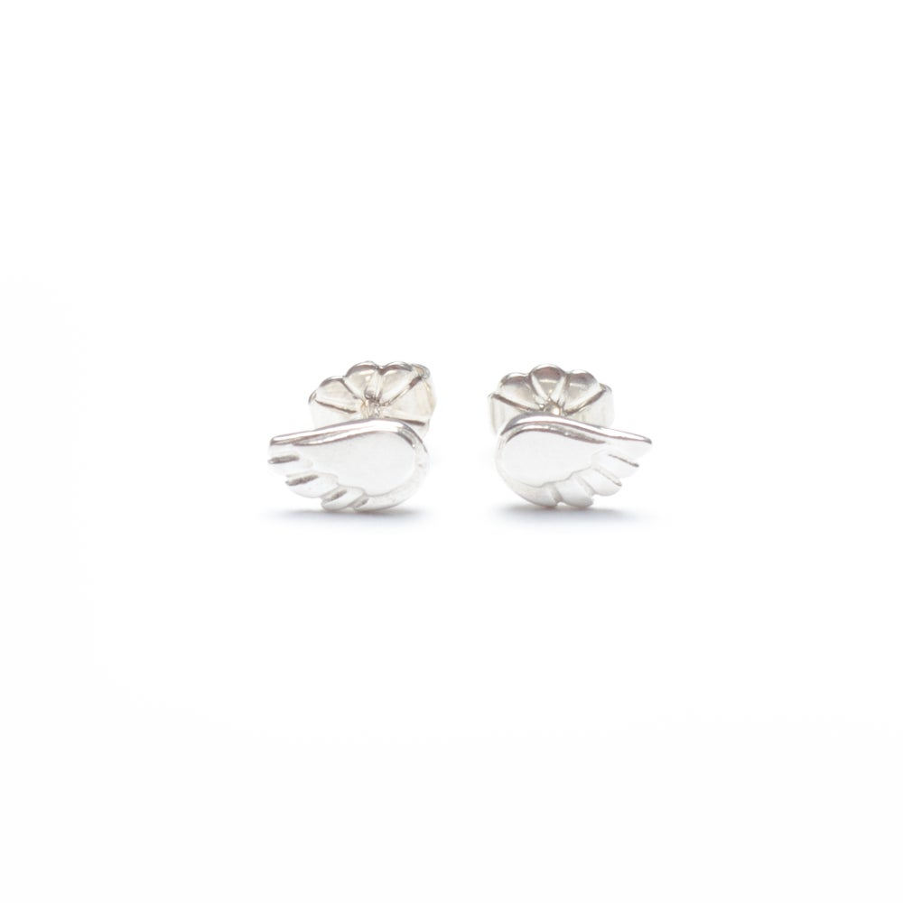 Image of Dainty Angel Wing Stud Earrings - Silver