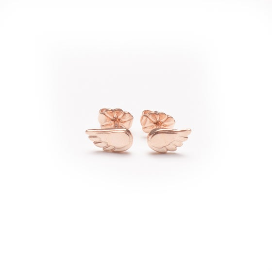 Image of Dainty Angel Wing Stud Earrings - Rose Gold