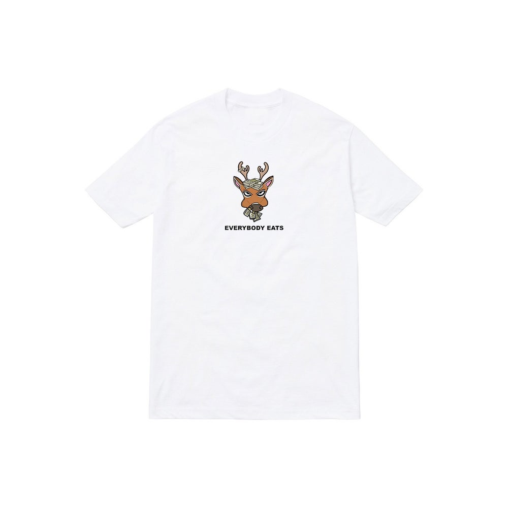 "Image of MONEY ""EVERYBODY EATS"" TEE [WHITE]"