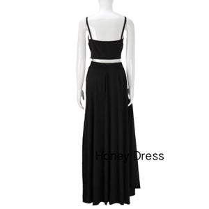 Image of Black Two Piece Prom Gown,Prom Dress With Spaghetti Straps,High Slit Evening Gown