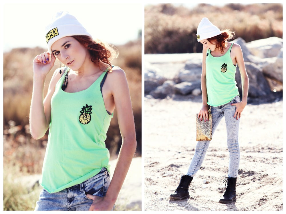 Image of Sequin Pineapple RACERBACK Tank Top