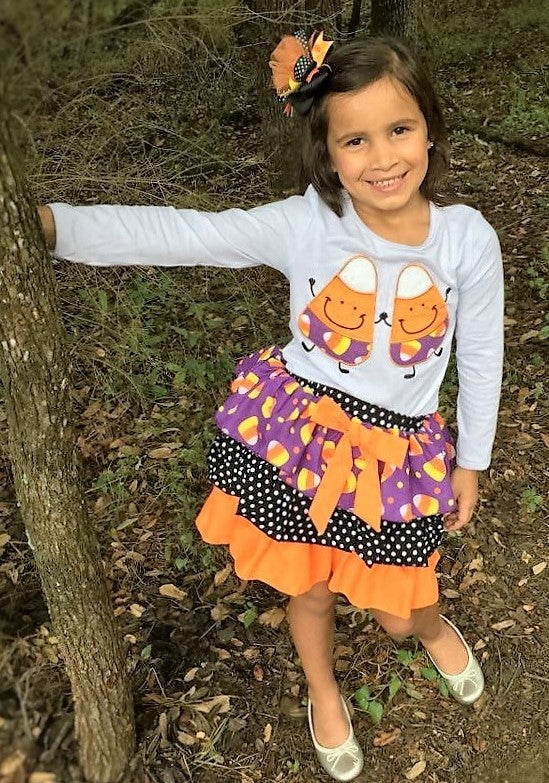 Image of Candy Corn Long Sleeve Top & Skirt Set, Baby Toddler, Girl, Fall, Halloween, Photos