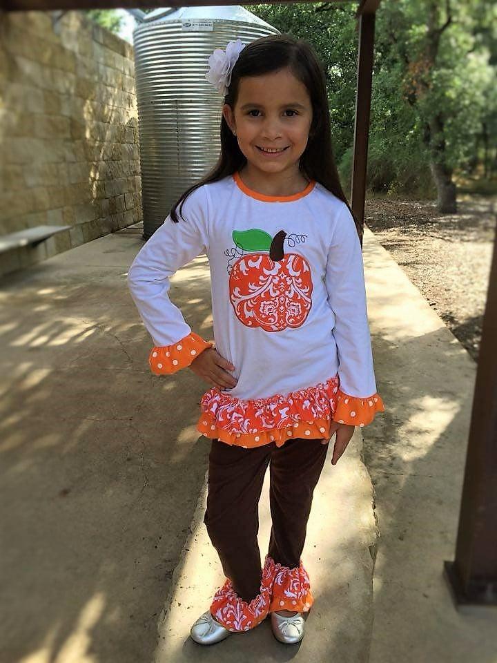 Infantile Orange Damask Pumpkin Ruffle Pant Set Baby