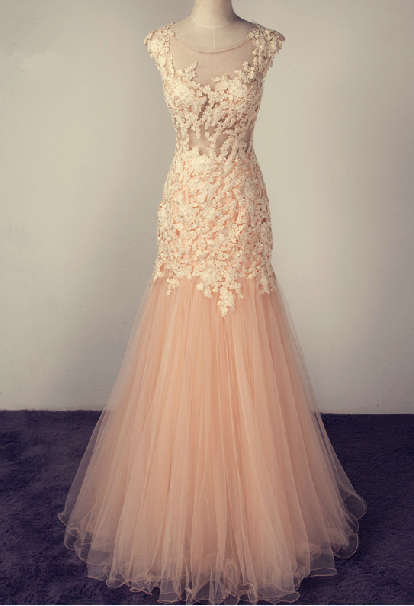 Elegant Handmade Tulle Mermaid Prom Gown with Lace Applique, Prom Gowns, Party Dresses