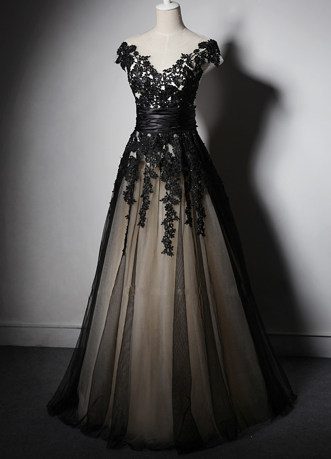 Charming Handmade Black Party Gown with Lace Applique, Prom Gowns, Party Dresses