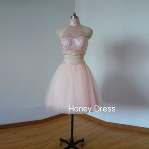 Image of Pink Two Piece Homecoming Dress,Tulle Halter Illusion Cocktail Dress