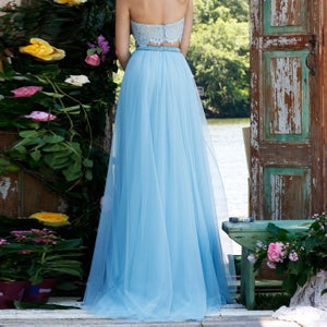 Image of Light Blue Halter Ball Gown Evening Dress,High Neck Two Piece Formal Gown,Blue Lace Tulle Prom Gown