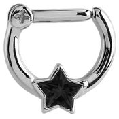 Image of Surgical Steel Jewelled Star Septum Clicker - 1.2mm