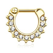 Image of Gold Septum Clicker - 11 Clear Cubic Zirconia Gems - 1.2mm & 1.6mm